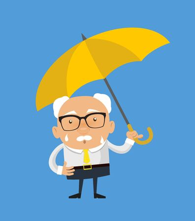 Old Boss Businessman - Standing with Umbrella 矢量图像