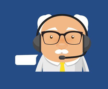 Old Boss Businessman - Providing a Customer Service Stock Illustratie