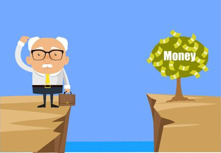 Old Boss Businessman - Thinking How to Reach Close to Money Plant