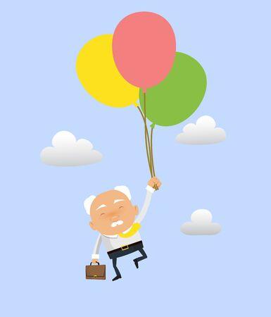 Old Boss Businessman - Flying with Balloons Illusztráció
