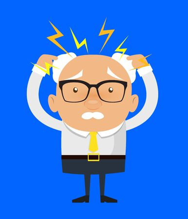 Old Boss Businessman - with Worried Face Illustration