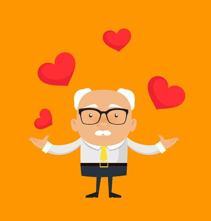 Old Boss Businessman - Presenting Hearts Standard-Bild - 133158674