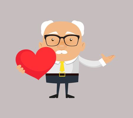 Old Boss Businessman - Holding a Heart and Showing with Hand