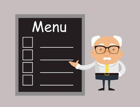 Old Boss Businessman - Presenting Menu List