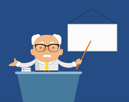 Old Boss Businessman - Presenting on White Board