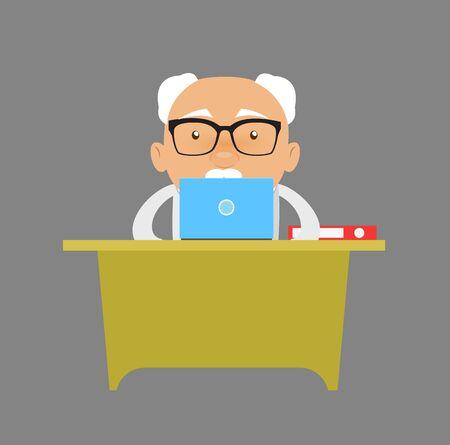 Old Boss Businessman - Working on Laptop 向量圖像