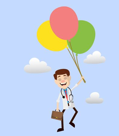 Physician Doctor - Flying with Balloons Illusztráció
