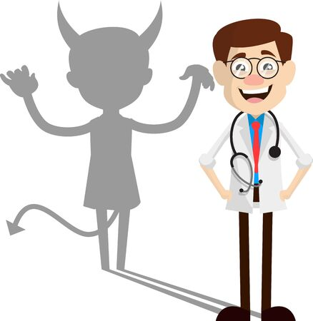 Physician Doctor - Devil person Standing with Fake Smile