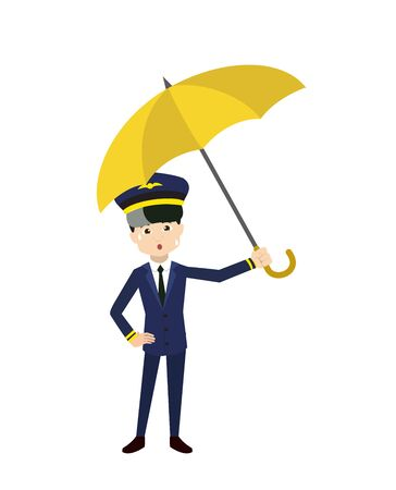 Pilot - Standing with Umbrella Vettoriali