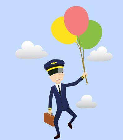 Pilot - Flying with Balloons Illusztráció