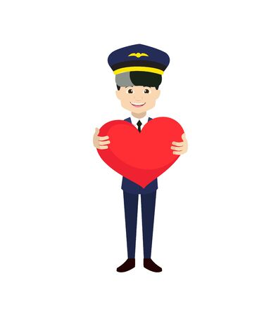 Pilot - Standing with a Heart Vettoriali