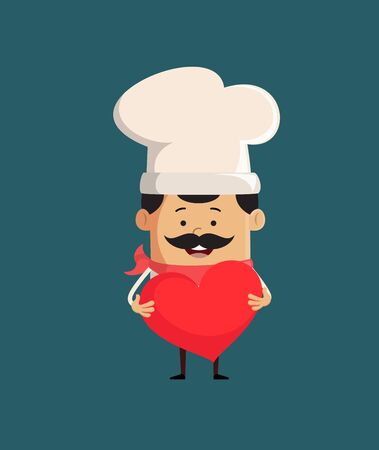 Professional Cute Chef - Standing with a Heart Standard-Bild - 133138266