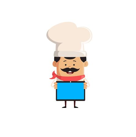 Professional Cute Chef - Presenting a Tablet Stock Illustratie
