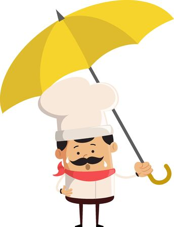 Professional Cute Chef - Standing with Umbrella Stock Illustratie