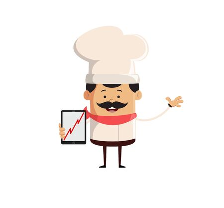 Professional Cute Chef - Presenting Profit Growing Graph on Tablet