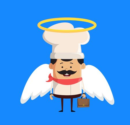 Professional Cute Chef - in Angel Costume Vector Stock Illustratie