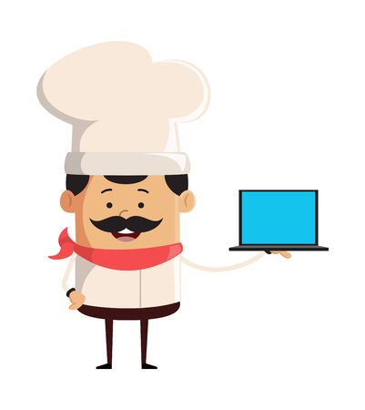 Professional Cute Chef - Presenting a Laptop Vector
