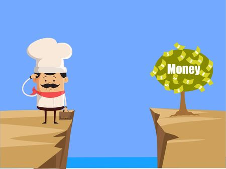Professional Cute Chef - Thinking How to Reach Close to Money Plant Ilustrace