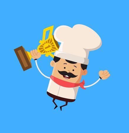 Professional Cute Chef - Jumping with Trophy Stock Illustratie