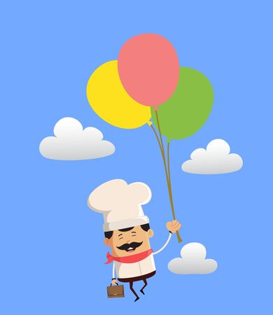 Professional Cute Chef - Flying with Balloons