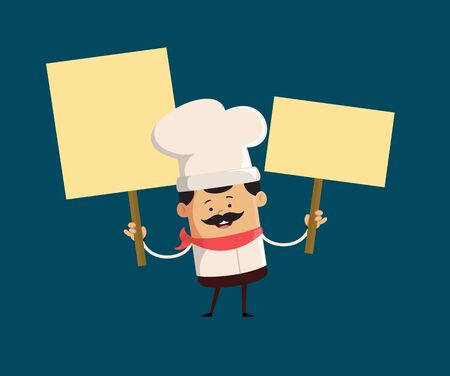 Professional Cute Chef - Holding Placards in Both Hands