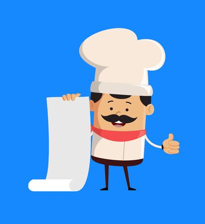 Professional Cute Chef - Holding a Paper Scroll and Showing Thumbs Up