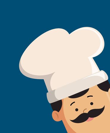 Professional Cute Chef - Empty Space with Head in Corner Stock Illustratie