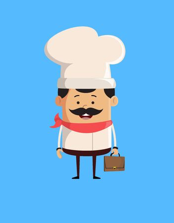 Professional Cute Chef - Holding a Suitcase and ready to go Illustration