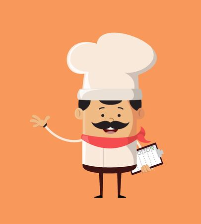 Professional Cute Chef - Holding a Checklist and Showing with Hand Gesture Stock Illustratie