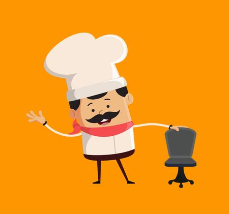Professional Cute Chef - Standing with Chair and Gesturing with Hand