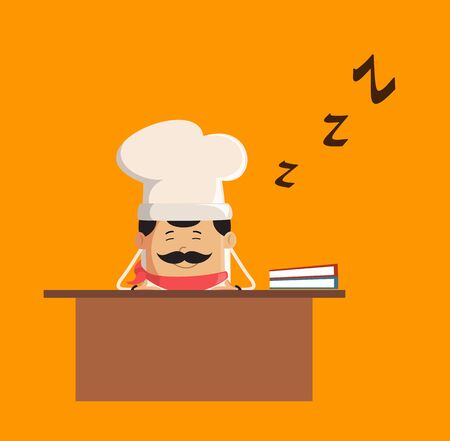 Professional Cute Chef - Sleeping on Office Desk Stock Illustratie