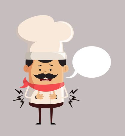 Professional Cute Chef - Feeling Pain in Stomach with Speech Bubble