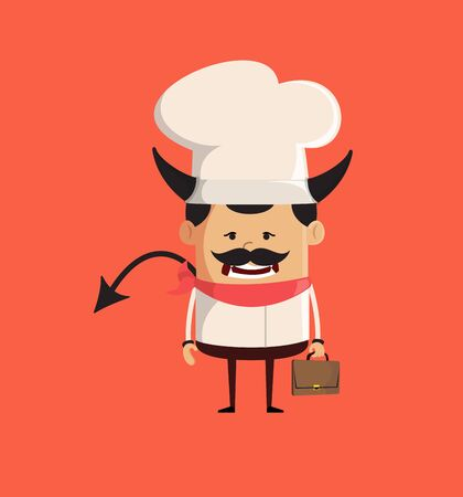 Professional Cute Chef - Standing in Angry Mood Stock Illustratie