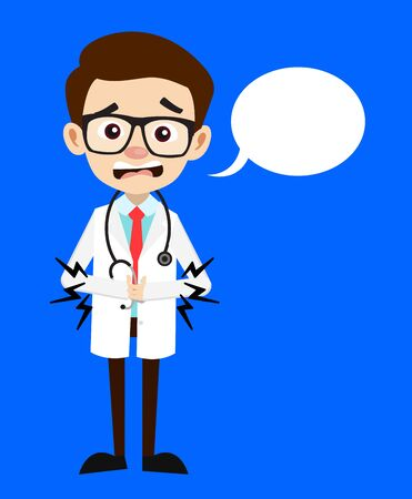 Professional Doctor - Feeling Pain in Stomach with Speech Bubble