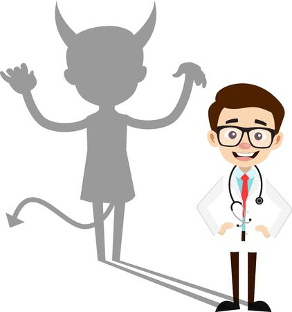 Professional Doctor - Devil person Standing with Fake Smile