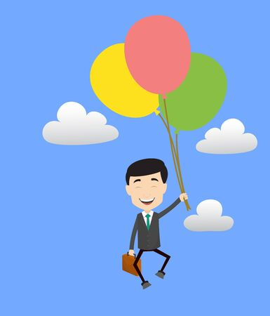 Professional Male - Flying with Balloons
