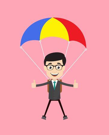 Hombre profesional - aterrizaje exitoso con paracaídas Ilustración de vector