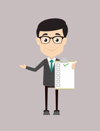 Homme professionnel - Affichage d'une liste de contrôle Vecteurs