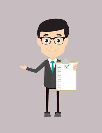 Professional Male - Showing a Checklist Vector Illustration