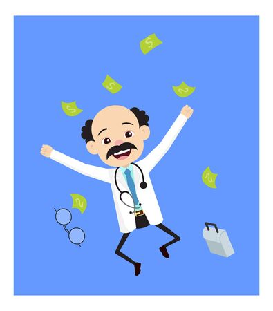 Psychiatrist - Jumping in Excitement with money