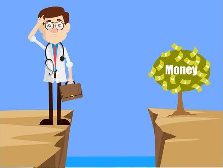 Psychiatre - Penser comment atteindre près de Money Plant Vecteurs