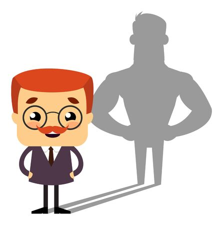 Salesman Boss Guy - Standing in Positive Attitude Illustration