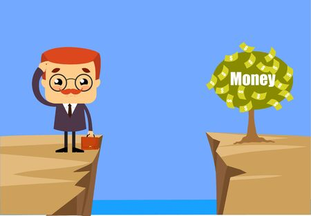 Salesman Boss Guy - Thinking How to Reach Close to Money Plant Ilustrace