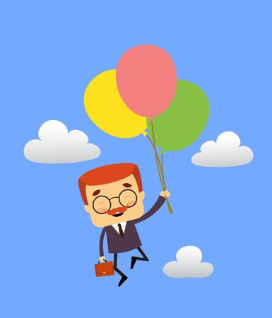 Salesman Boss Guy - Flying with Balloons