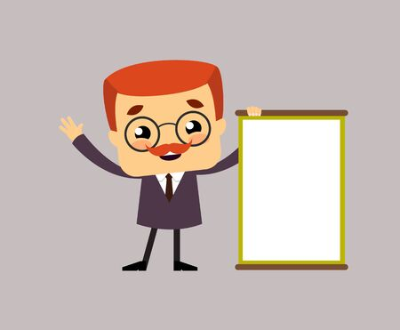 Salesman Boss Guy - Joyfully Presenting a Blank  Board Vectores
