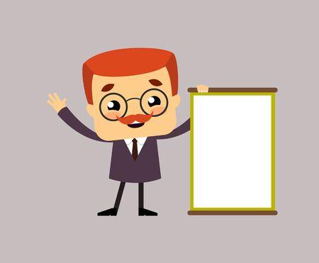 Salesman Boss Guy - Joyfully Presenting a Blank  Board Illustration