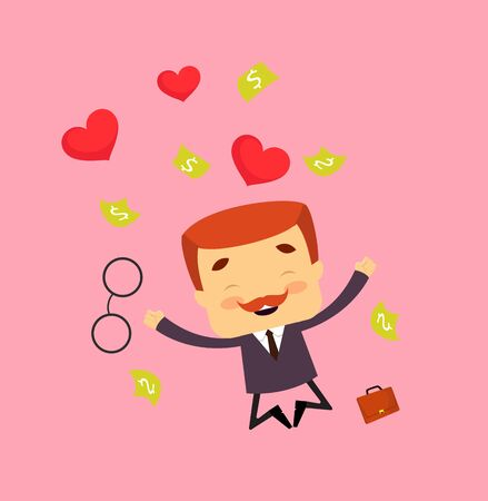 Salesman Boss Guy - Jumping with Hearts and Money