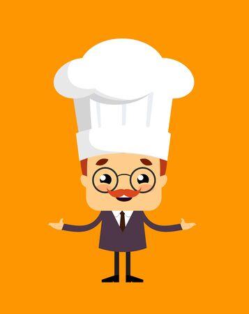 Salesman Boss Guy - Standing with Open Hands