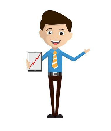 Salesman Employee - Presenting Profit Growing Graph on Tablet