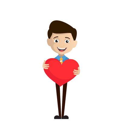 Salesman Employee - Standing with a Heart Standard-Bild - 133143643